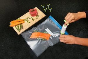 Sous Vide Essentials Kit includes Hand Pump, 10 BPA Free Vacuum Sealed Bags, 1 Bag Sealing Clip and 4 Sous Vide Clips Review