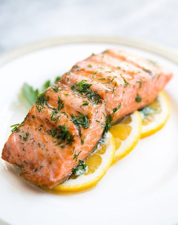 Fresh Salmon with Butter and Olive Oil